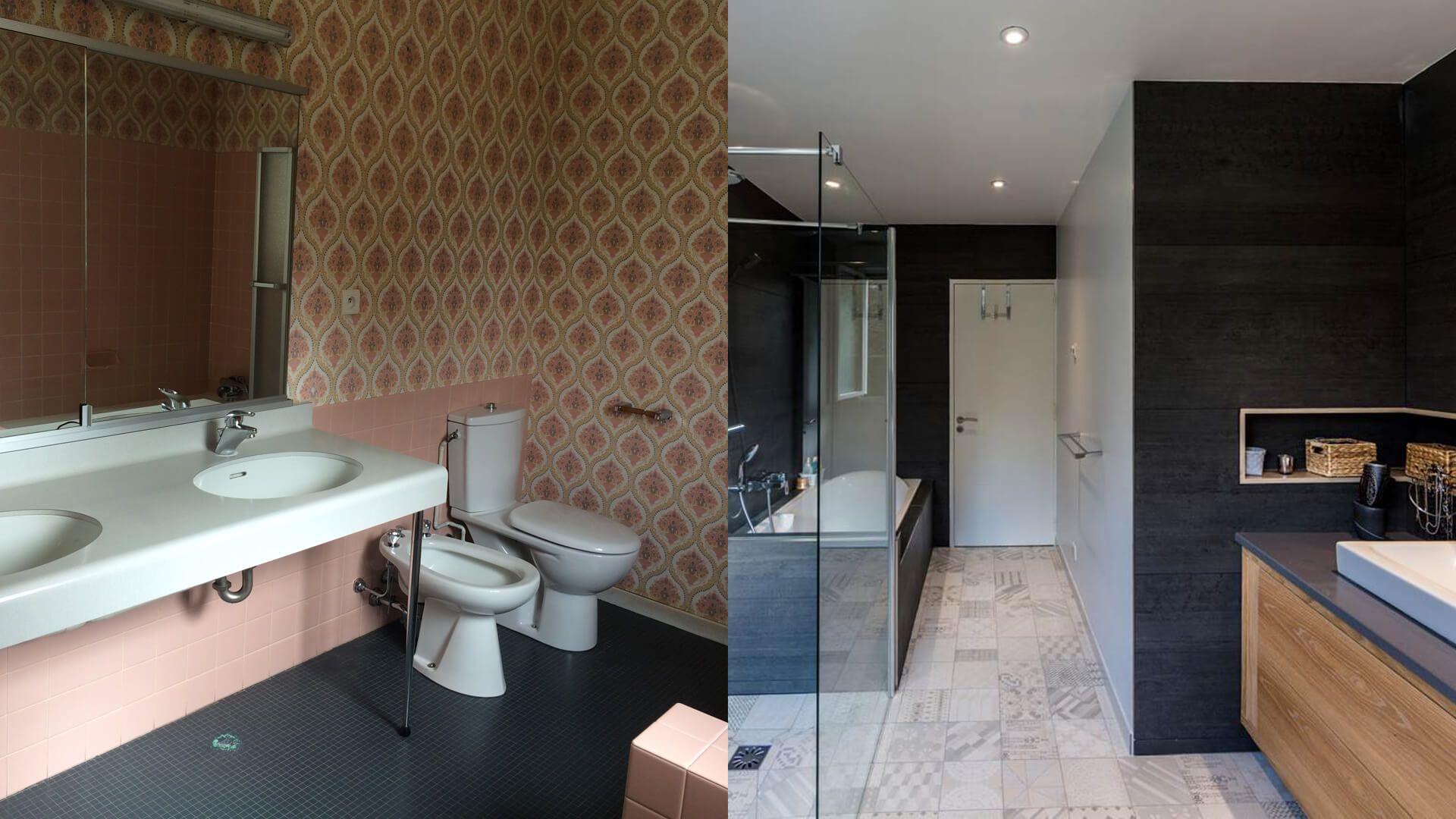 r novation d 39 une salle de bains des ann es 70 avant apr s. Black Bedroom Furniture Sets. Home Design Ideas
