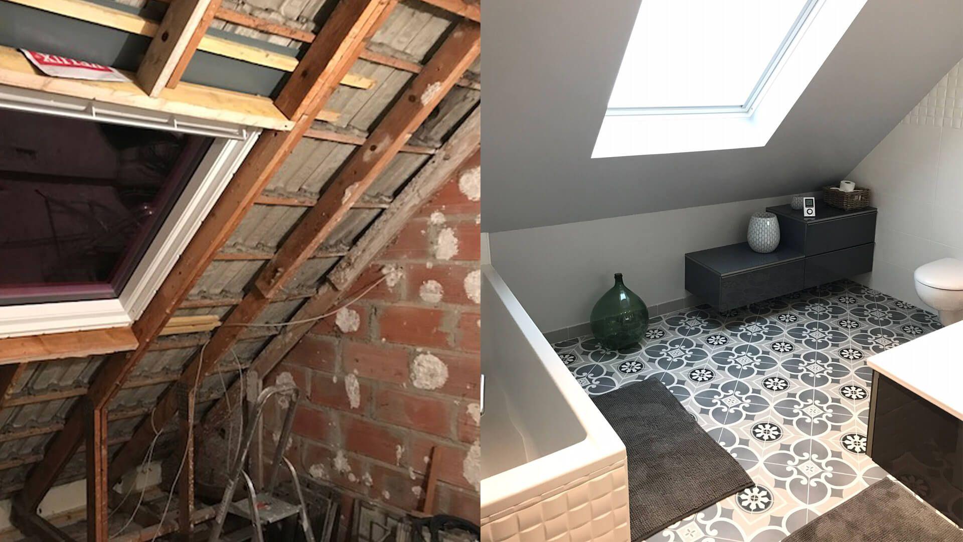 Rénovation salle de bains contemporaine sous les combles