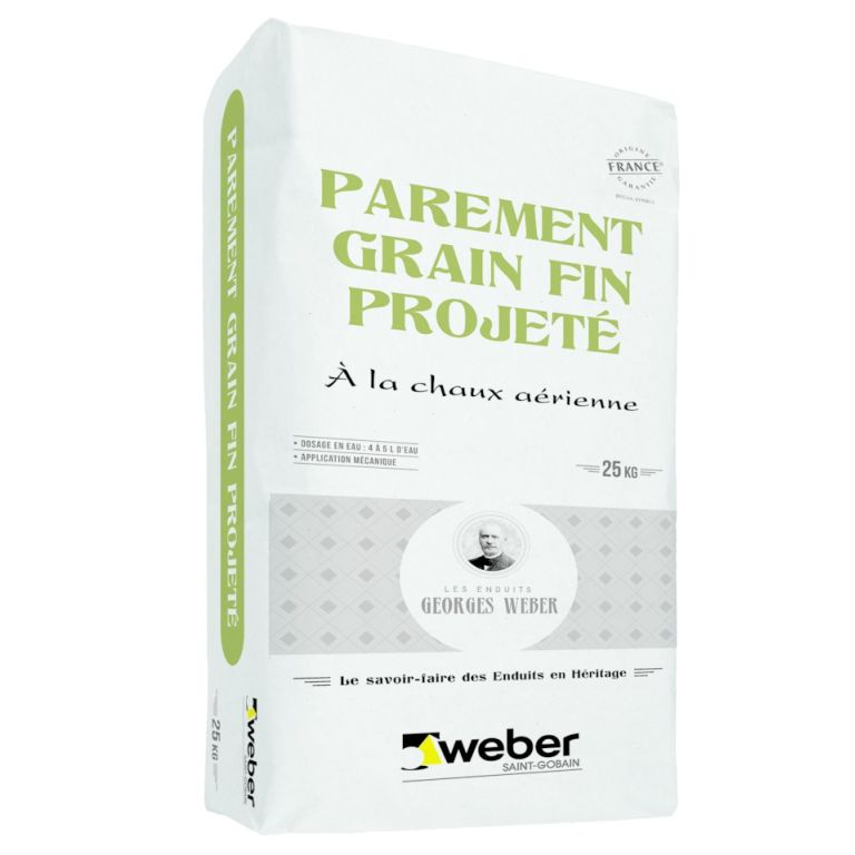 parement grain fin projeté